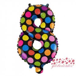 Globo número 8 diseño puntos, 38 cm