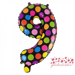 Globo número 9 diseño puntos, 38 cm