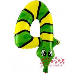 Globo número 4 forma animal, 39x47 cm