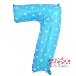 Globo número 7 azul, 75 cm