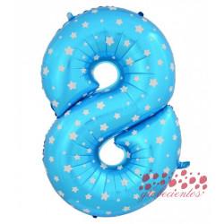 Globo número 8 azul, 75 cm