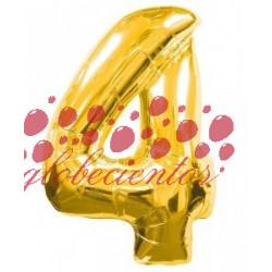 Globo número 4 dorado, 75 cm