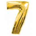 Globo número 7 dorado, 75 cm