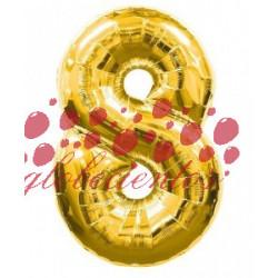 Globo número 8 dorado, 75 cm