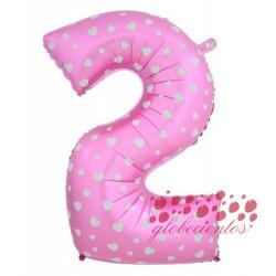 Globo número 2 rosa, 75 cm