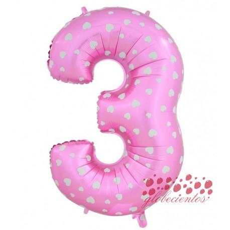 Globo número 3 rosa, 75 cm
