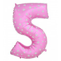 Globo número 5 rosa, 75 cm
