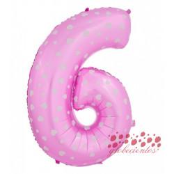 Globo número 6 rosa, 75 cm