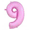 Globo número 9 rosa, 75 cm