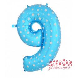 Globo número 9 azul, 97 cm