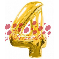 Globo número 4 dorado, 97 cm