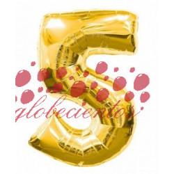 Globo número 5 dorado, 97 cm