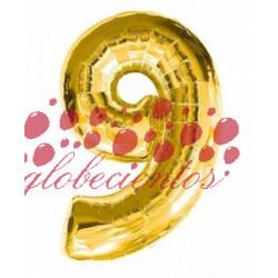 Globo número 9 dorado, 97 cm