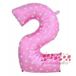 Globo número 2 rosa, 97 cm