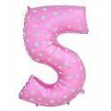 Globo número 5 rosa, 97 cm