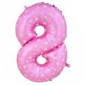 Globo número 8 rosa, 97 cm