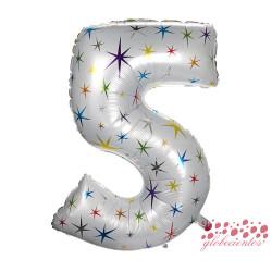 Globo número 5 estrellas, 97 cm