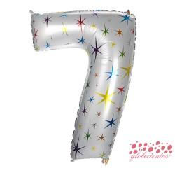 Globo número 7 estrellas, 97 cm