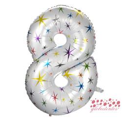 Globo número 8 estrellas, 97 cm
