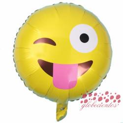 Globo emoticono guiño con lengua, 45 cm