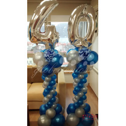 Columna doble de globos azul con números, 1.8 m