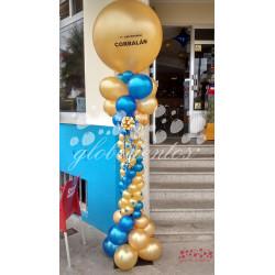 Columna de globos más globo de látex con texto, 2 m