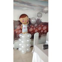 Globo grande figura novia con base de globos