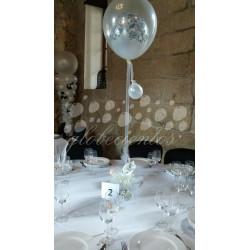 Centro de mesa con globo cristal con damas