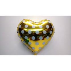 Globo corazón amarillo con lunares 45 cm