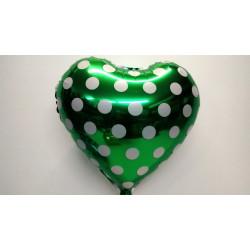 Globo corazón verde con lunares 45 cm