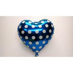 Globo corazón azul con lunares 45 cm
