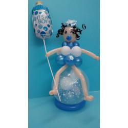 Bebé de globos rosa o azul con biberón