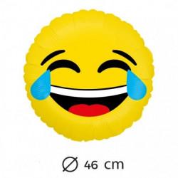 Globo emoticono risa con lágrimas, 45 cm