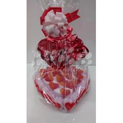Tarta de gominolas pequeña forma de corazón más globo