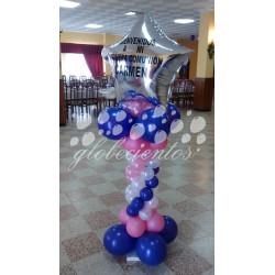 Columna de globos con globo serigrafiado